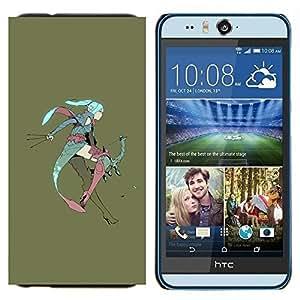 TECHCASE---Cubierta de la caja de protección para la piel dura ** HTC Desire Eye ( M910x ) ** --Anime Girl Fairy Orejas grandes azul guerrero de pelo