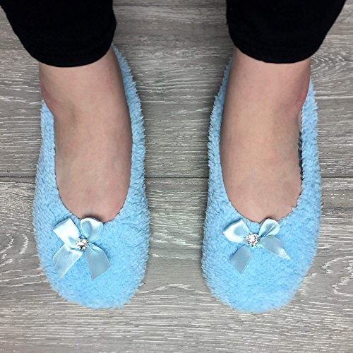 Ladies Fleece Ajvani Size Slippers Blue Socks Bow Baby Slip Winter Heart Womens Elastic on gem 5UqZH