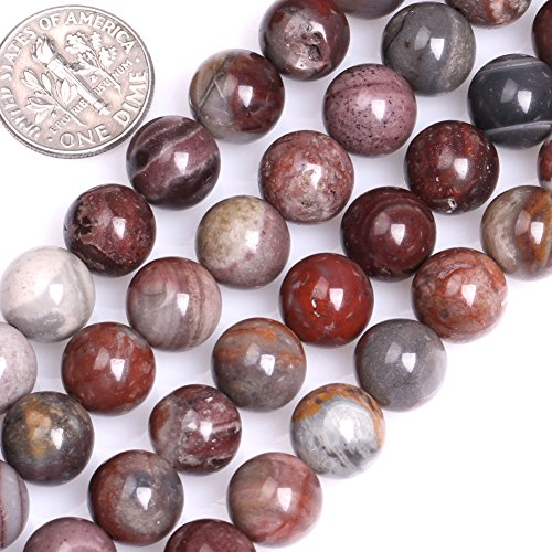 Fancy Jasper Necklace - GEM-inside Natural Genuine 10mm Round Dark Red Fancy Fantasy Jasper Beads for Jewelry Making Strand 15