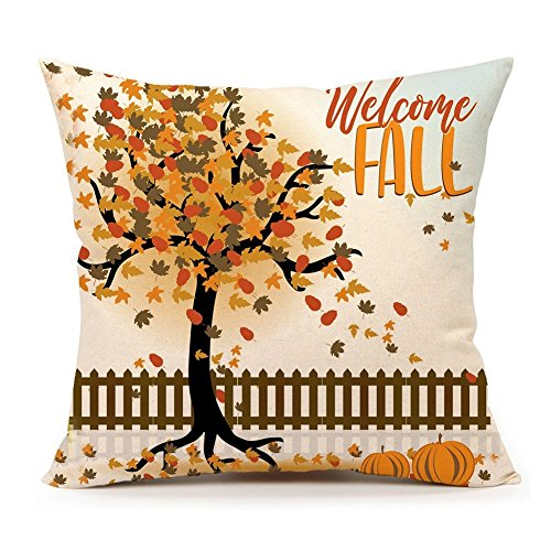 4TH Emotion Welcome Fall Tree Throw Pillow Case Cushion Cover for Sofa Couch 18 x 18 Inch Cotton Linen