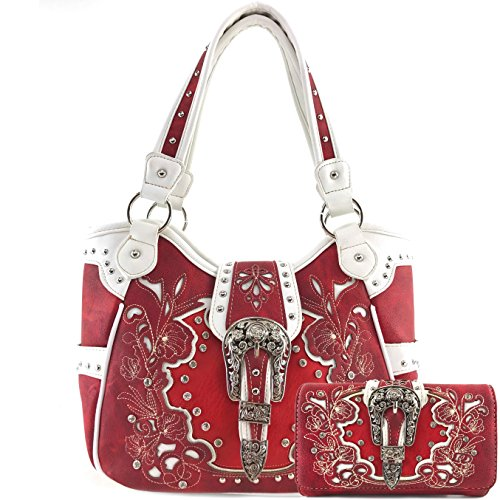 Justin West Western Brown Purse Tooled Laser Cut Floral Design Studs Rhinestone Buckle Concealed Carry Handbag With Trifold Wristlet Cross Body Strap Wallet Set (Red)