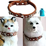 Bolbove Leather Pet Skull & Crossbones Collar with Crystal Rhinestones for Dogs & Cats (Neck Girth 10.6'' - 13'', Brown)
