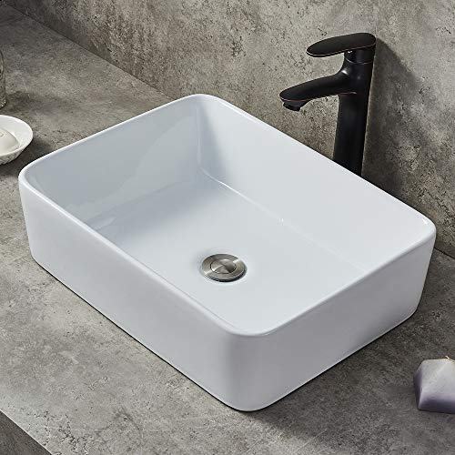 Modern Porcelain Above Counter White Ceramic Bathroom Vessel Sink (White Bathroom Vessel Sink)