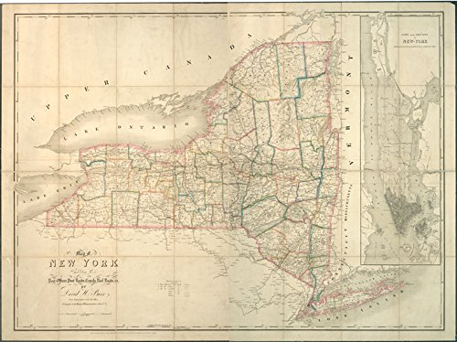 Historic 1839 Map   Map of New York exhibiting the post offices, post roads, canals,   Antique Vintage Map Reproduction