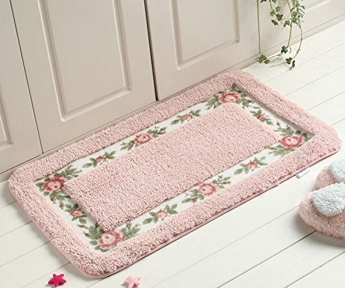 AnnyMart Pretty Floral Rural Style Romantic Rose Flower Rug Shaggy Area Rugs Soft Non-Slip Doormat Floor Mat Bath Mat Bathroom Shower Rug Bedroom Living Room Carpet,4060cm (Nice Pink) - Sweet Rose Flower Design Doormat Bath Mat Bathroom Shower Rug,Very Pretty Size:40*60cm/15.74*23.62 Inch,Made of High Quality Coral Fleece,Super Soft,Absorbent Non-slip Latex Backing,Environmental Protection,Easy to Use,Easy to Clean - bathroom-linens, bathroom, bath-mats - 51 S kH2edL -