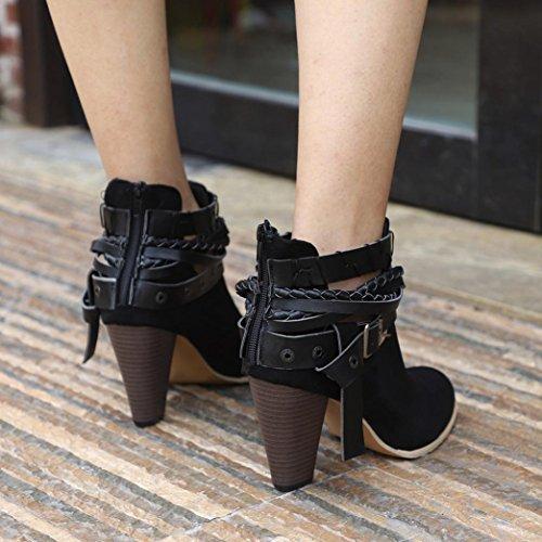 Martin Boot Courtes Cuir Femme Mode Chevalier Dames Jiangfu Bottines Botte Bottes Chaussures Noir TgR6WxB