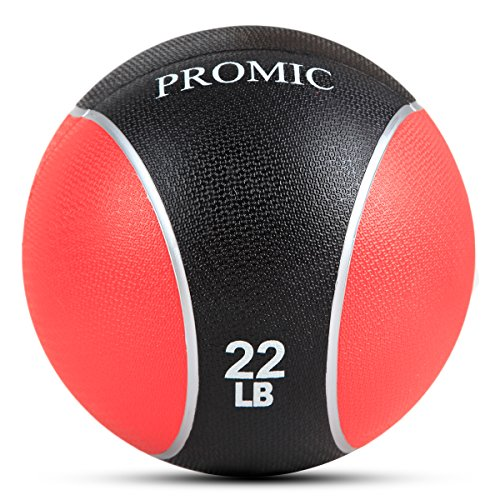 PROMIC 22 lb Medicine Ball, Sturdy Rubber Construction Comfort Textured Grip for Strength Training (22-Pounds)