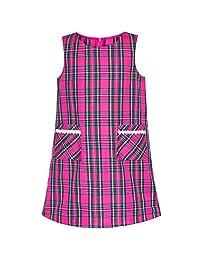 Sunny Fashion Girls Dress Pink Tartan Back School Uniform Pocket A-line Dress