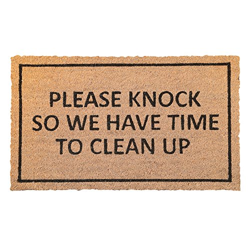WHAT ON EARTH Please Knock So We Have Time to Clean Up Doormat - PVC Backed Coir Welcome Mat