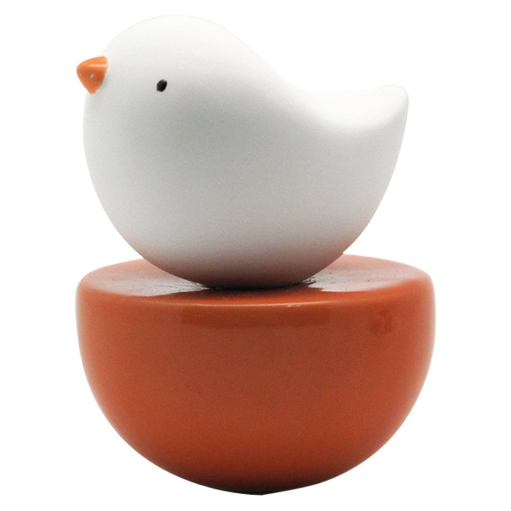 Lively Breeze Baby Bird, Non-Electric Ceramic Diffusers for Essential Oils and Aromatherapy Fragrance, White Ceramic Diffusers in Car or Desk Office Decor and Small Bathroom at Home, Orange Vase