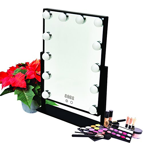 Hollywood Table Top Make Up Vanity Mirror Dimmable LED Light Bulbs & Touch Control Design & Digital Time by Estala (Black) by Estala