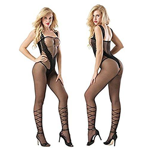 FairyDreamy Women Sexy Lingerie Sleepwear Jacquard Crotchless Bodystocking Panty Open Crotch Bodysuits Nightwear One-Piece Sets (F06179-Black) by FairyDreamy