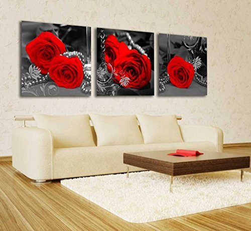 Spirit Up Art Gorgeous Red Roses HD Giclee Art Print on Canvas set of 3 Modern Home Wall Painting Decor Art Each 50*50cm #08-niy-246 - Rose Red Frames