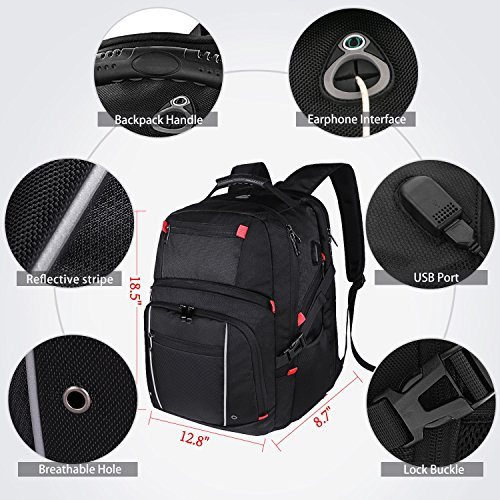 ae390531290 Laptop Backpack 17.3 Inch USB Charging Port Waterproof Large Business  Travel Bag College School Students Gaming