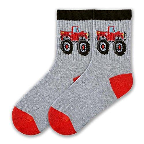 K. Bell Boys Novelty Crew, gray heather big truck, Shoe covid 19 (Silly Boys Trucks coronavirus)