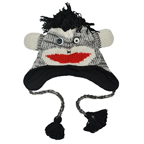 Winter Fun Animal Hand Knit Fleece Woolen Hat Beanie-Grey-One (Crazy Fleece Hats)