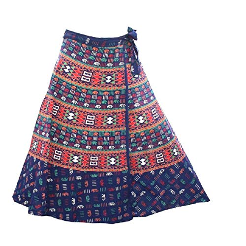 rajwada-fashion Wrap Around Long Skirt Women 100% Cotton Jaipuri Printed (Color Blue)