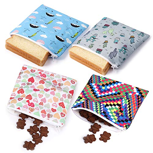 Reusable Snack Bag Sandwich Bags Zippered Lunch Baggies for Kids ECO-Friendly(4 Pack BOL)