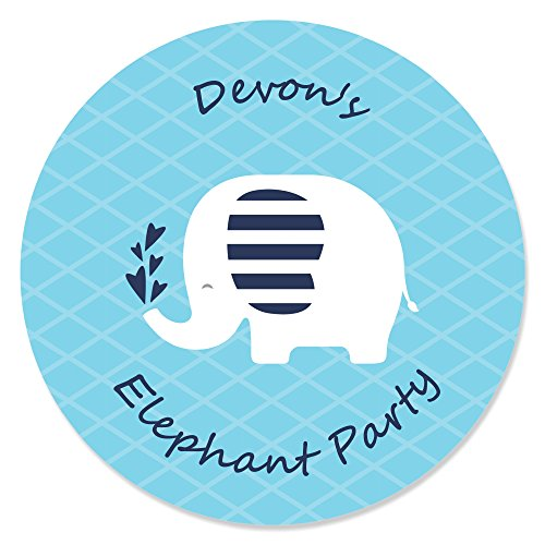 Personalized Blue Elephant - Custom Boy Baby Shower or Birthday Party Favor Circle Sticker Labels - Custom Text - 24 Count ()