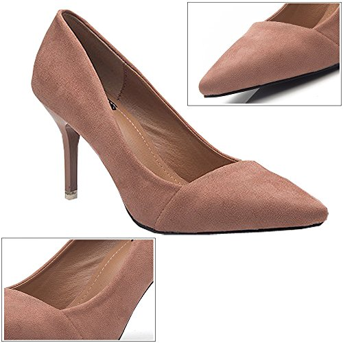 Para Pointed 8CM Toe 6CM Zapatos Elegante tacón De Rosa Negro de Stiletto Tacón Alto KINDOYO Zapatos Mujeres nqCIFF