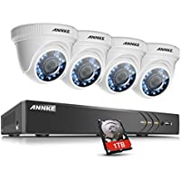 ANNKE 1080P Outdoor Security Camera System Including 4 Channel 3MP (1920x1536p) DVR within 1TB Hard Drive and 4x1080P (2.0MP) Waterproof Night Vision Indoor/Outdoor CCTV Cameras