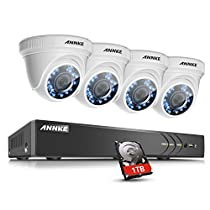 ANNKE 4CH Hybrid 5-in-1 3MP Realtime CCTV Security DVR Video Recorder with 1TB Hard Drive and (4) Dome Security Camera for Home/Office, Remote Access QR Scan Motion Detection Alarm with Image