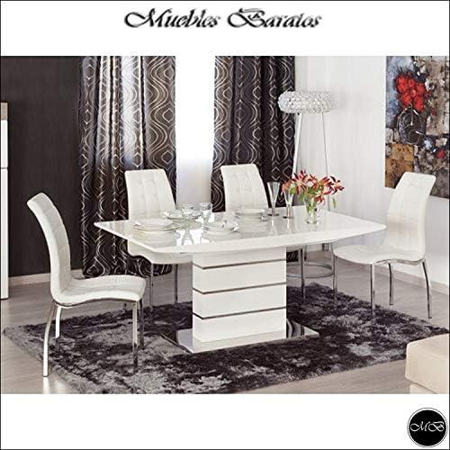 Mesa de Comedor Extensible, Moderna Color Blanco Lacado Alto ...