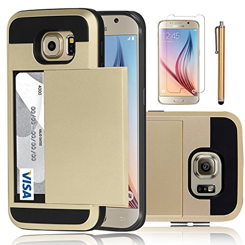 Elegant Choise Compatible with Galaxy S6 Case, Samsung Galaxy S6 Wallet Case, Hybrid High Impact Resistant Protective Shockproof Hard Shell with Card Holder Slot Cover Compatible with Samsung S6