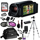 Canon VIXIA HF R82 Camcorder Video Professional Bundle with Sandisk 32 GB SD Memory Card + Filters + Canon Case + Accessory Bundle