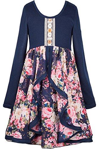 Truly Me, Big Girls Tween Cascading Ruffle Chiffon Dress, 7-16 (8, Navy Multicolor)