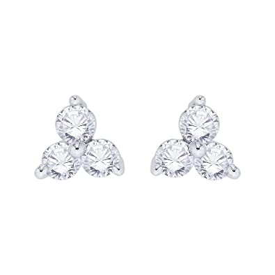 f4ecaea5d KATARINA 3 Stone Diamond Stud Earrings in Sterling Silver (1/2 cttw G-H,