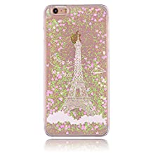 iPhone 5 Amazing Case - Aeeque Vintage Paris Eiffel Tower Motif 3D Flowing Liquid Sparkly Shiny Pretty Pink Love Hearts Design Transparent Clear Hard Plastic Case Cover for iPhone 5 / 5S / SE