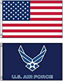 3'x5′ US AMERICAN and US AIR FORCE Blue Wings Polyester Flags