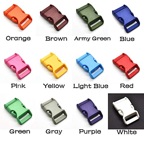 Algol - 12pcs/pack 3/4'' Plastic Colorful Contoured Side Release Buckles Webbing Size 20mm For Paracord Bracelets/Backback 12 ()