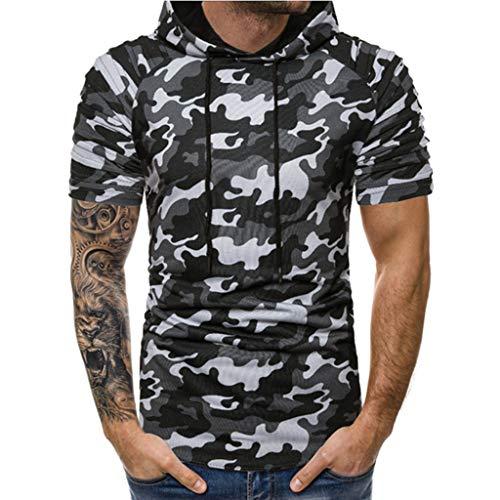 382df398f2d Letdown Men tops 2019 Shirts Deals ! Men Camouflage Gradient Hooded Splice  Casual Sport Lapel Short Sleeve