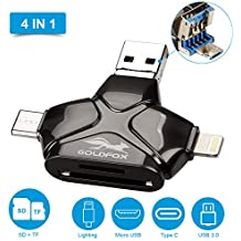 GOLDFOX SD/TF/Micro SD Card Reader for iPhone Android Mac Computer, 4-in-1 Memory Card Reader Adapter Trail Game Camera Viewer for iPhone iPad Smartphones with Lightning/USB C/Micro USB/USB Ports