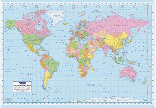 Pyramid America World Map Poster 36x24 inch