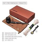 Tobacco Smoking Pipe Set: Black Smoking Pipe + Stainless Steel Pipe Scraper + Cleaning Brushes 24pcs + Case For Pipe. Best Gift for Smoking men
