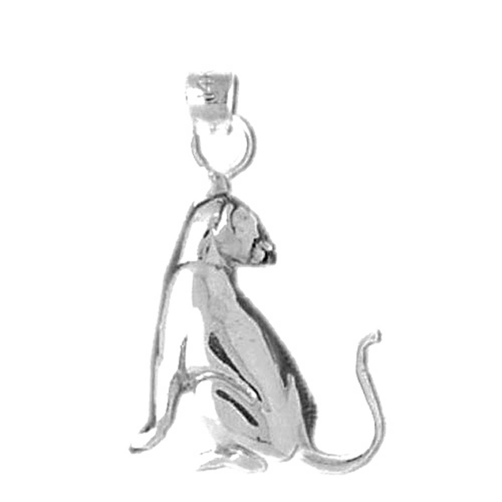 Jewels Obsession Silver Cat Necklace Rhodium-plated 925 Silver Cat Pendant with 18 Necklace