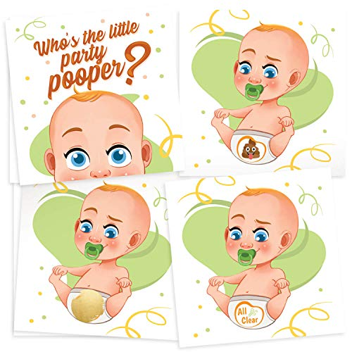 33 Funny Baby Shower Games - Diaper Raffle Tickets Emoji Scratch Off Lottery Card Game - Great for Boy & Girl Baby Shower Decorations & -