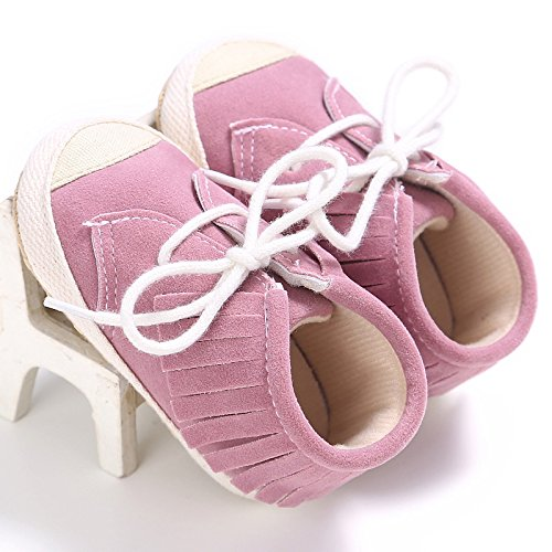 12 Lona Auxma Suave Del Para 3 Primeros Caminar Zapatos 18 Suela 6 Con Calzado Mes De 12 6 Bebé Rosado ZdwRvcqqtx