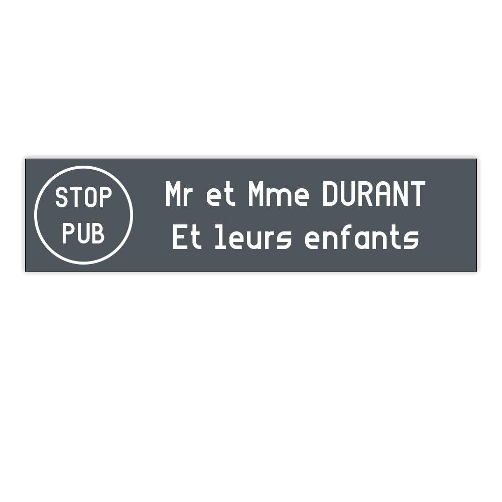 plaque boite aux lettres Decayeux STOP PUB (100x25mm) grise lettres blanches - 2 lignes - Plaque grise - Lettres blanches - 2, 5 cm DECOHO