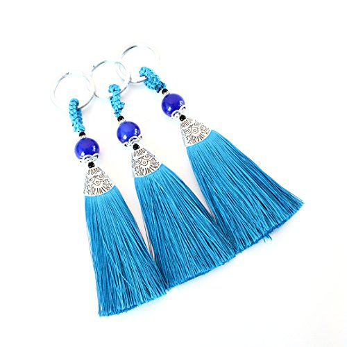 Linsoir Beads Blue Tassel Key Chain Key Ring Keychain for Her Womens Birthday Gift Bridesmaid Gift 3 Pcs/lot