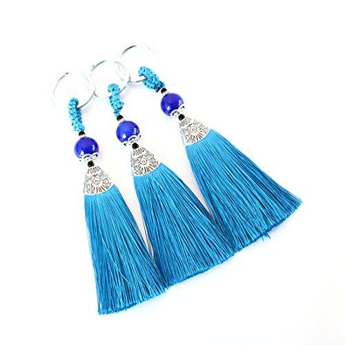 Linsoir Beads Blue Tassel Key Chain Key Ring Keychain for Her Womens Birthday Gift Bridesmaid Gift 3 Pcs/lot