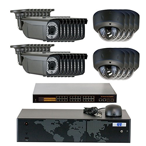 GW Security 5MP (2592x1920p) 24Ch NVR Home Security Camera System - HD 1920p 2.8-12mm Varifocal Zoom Weatherproof (16) Bullet and (8) Dome PoE IP Camera - 5 Megapixel (3,000,000 more pixel than 1080P)