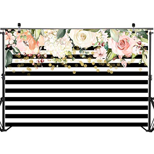 Mocsicka Bridal Shower Backdrops Decoration Props 7x5ft Birthday Background Black and White Stripes Florals Photography - Backgrounds Floral Photography
