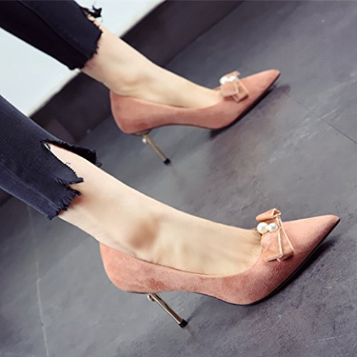 Leisure Powder Work All With Orange 39 Heels High Bow Match Suede Spring Tip 9Cm Elegant Fine Lady Shoes MDRW Sweet xTt6AA