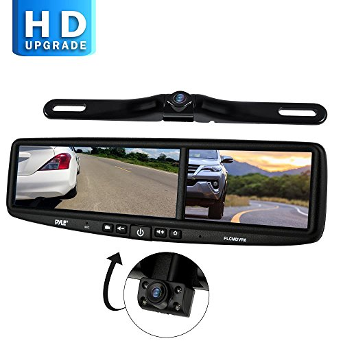 Pyle PLCMDVR8 HD Vehicle Backup System - 4.2' DVR Dual Camera Rearview Mirror Video Recording, Waterproof Night Vision Cam, 1080p