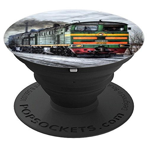 Colorful Steam Train Locomotive Background Steam Engine Rail - PopSockets Grip and Stand for Phones and Tablets (Locomotive Telephone)