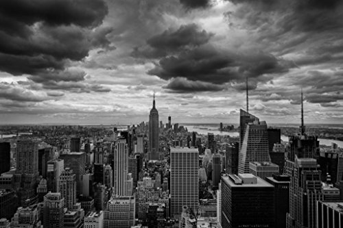 (Laminated Storm Over Midtown Manhattan New York City NYC Black and White B&W Photo Art Print Sign Poster 18x12 inch)